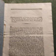 Documentos antiguos: 1836. DISCURSO FRANCISCO MARTÍNEZ DE LA ROSA. PROYECTO LEY ELECTORAL. 1836.. Lote 198218130