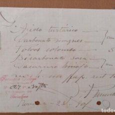 Documentos antiguos: RECETA FARMACIA PELAYO CALLE ROSELLON BARCELONA 1901(3). Lote 198296570