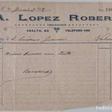 Documentos antiguos: DOCUMENTO TAURINO. FACTURA POR AVISOS TOREROS.JUNIO 1902. W. Lote 198537638