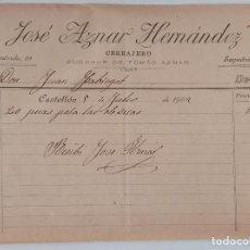 Documentos antiguos: DOCUMENTO TAURINO. FACTURA CERRAJERO PÚAS PARA DIVISAS. CASTELLÓN JULIO 1902. W. Lote 198537706