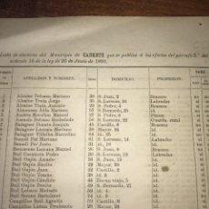 Documentos antiguos: 1890. CENSO. CADRETE. ZARAGOZA. LLAMADO SUFRAGIO UNIVERSAL (SÓLO VARONES). IMPORTANTE.. Lote 198592420