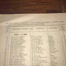Documentos antiguos: 1890. CENSO. CALATAYUD. ZARAGOZA. LLAMADO SUFRAGIO UNIVERSAL (SÓLO VARONES). IMPORTANTE.. Lote 198592556