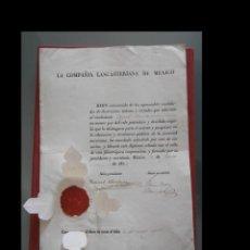 Documentos antiguos: TITULO DE LA COMPAÑIA LANCASTERIANA DE MÉXICO. Lote 198605332