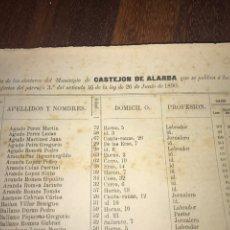 Documentos antiguos: 1890. CENSO. CASTEJÓN DE ALARBA. ZARAGOZA. LLAMADO SUFRAGIO UNIVERSAL (SÓLO VARONES). IMPORTANTE.. Lote 198615527