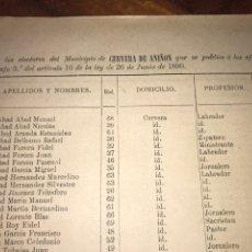 Documentos antiguos: 1890. CENSO. CERVERA DE ANIÓN. ZARAGOZA. LLAMADO SUFRAGIO UNIVERSAL (SÓLO VARONES). IMPORTANTE.. Lote 198626847