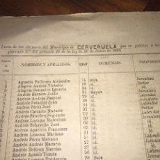 Documentos antiguos: 1890. CENSO. CERVERUELA. ZARAGOZA. LLAMADO SUFRAGIO UNIVERSAL (SÓLO VARONES). IMPORTANTE.. Lote 198626957