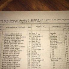 Documentos antiguos: 1890. CENSO. CETINA. ZARAGOZA. LLAMADO SUFRAGIO UNIVERSAL (SÓLO VARONES). IMPORTANTE.. Lote 198627058