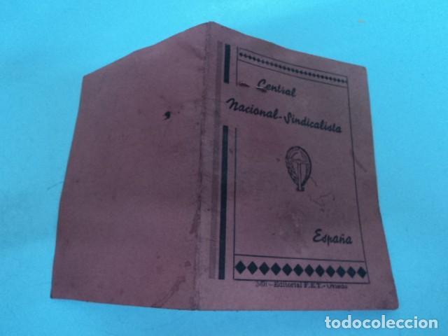 Documentos antiguos: CARNET ANTIGUO CENTRAL NACIONAL SINDICALISTA PROVINCIAL ASTURIAS 1938 CAMPESINO POST GUERRA CIVIL - Foto 3 - 198648122