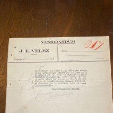 Documents Anciens: MEMORANDUM. J.E. VELEZ. ECUADOR, GUAYAQUIL, 1926. DIRIGIDO A A.R. VALDESPINO & HNO. JEREZ.. Lote 198975728