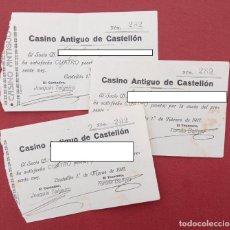 Documentos antiguos: LOTE DE 3 SATISFECHOS DE SOCIO. CASINO ANTIGUO DE CASTELLÓN. 1917. W. Lote 199105735