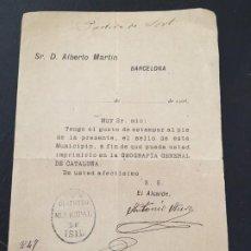 Documents Anciens: (M2) SR. D ALBERTO MARTIN, ENVIA SELLO PARA LA GEOGRAFIA GENERAL DE CATALUÑA, DISTRITO DE ISIL 1908. Lote 199111720