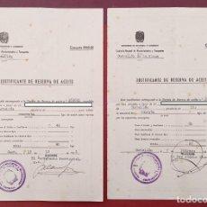 Documentos antiguos: PAREJA DE JUSTIFICANTES DE RESERVA DE ACEITE. CASTELLÓN 1951. W. Lote 199111746