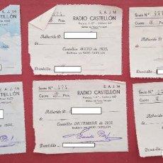 Documentos antiguos: LOTE DE 16 PAGOS DE CUOTA RADIO DE CASTELLÓN. AÑOS 30. W. Lote 199126976