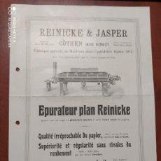 Documentos antigos: PUBLICIDAD ANTIGUA , MAQUINARIA PARA FABRICAR PAPEL.. Lote 199200697