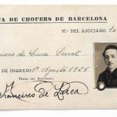Documentos antiguos: CARNÉ / CARNET - MUTUA DE CHOFERS / CHÓFERES DE BARCELONA - 12,3 X 7,5 CM - P30691. Lote 199426408