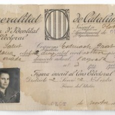 Documentos antiguos: OLOT - GENERALITAT DE CATALUNYA - CARNET ELECTORAL - 1935 - P30692. Lote 199479488