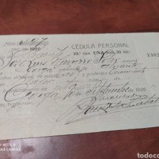 Documentos antiguos: GORGA ALICANTE 1920 CÉDULA PERSONAL.. Lote 199851990