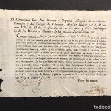 Documentos antiguos: CHELVA. CONCEDE LICENCIA Y PERMISO PARA LA PODA DE PINOS VIEJOS.. PARA EL CONSUMO PROPIO (A.1815). Lote 199882238