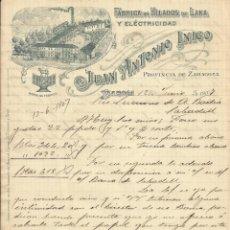 Documentos antiguos: JUAN ANTONIO INIGO YNIGO. DAROCA. HILADOS DE LANA Y ELECTRICIDAD. 1907. CARTA A A. BADÍA. SABADELL.. Lote 200264043