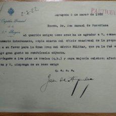 Documentos antiguos: CARTA CAPITAN GENERAL JUAN DE AMPURDA PROPÙESTA CRUZ MILITAR MANUEL ESCORIAZA, ZARAGOZA 1922. Lote 200377098