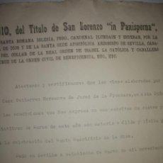 Documentos antiguos: DOCUMENTO ANTIGUO SEVILLA EUSTAQUIO DEL TITULO LOREMZO 'PANISPERA'. Lote 200383761