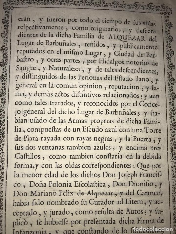 Documentos antiguos: HUESCA. PROVISIÓN EJECUTORIA DE INFANZONÍA JOSEPH DE ALQUEZAR Y PORTERIA. BARBASTRO, BARBUÑALES.1767 - Foto 5 - 200608598