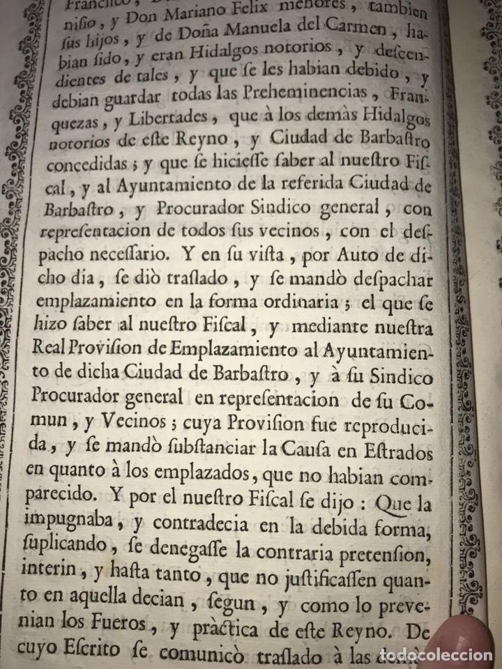 Documentos antiguos: HUESCA. PROVISIÓN EJECUTORIA DE INFANZONÍA JOSEPH DE ALQUEZAR Y PORTERIA. BARBASTRO, BARBUÑALES.1767 - Foto 6 - 200608598