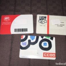 Documentos antiguos: 3 CARNETS DE UGT Y CCOO SINDICATOS DE TRABAJADORES ... ZKR. Lote 200882256