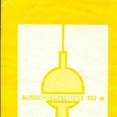 Documentos antiguos: ENTRADA TORRE DE BERLÍN. FERNSEHTURM. ALEMANIA. 1991. CORTE DE VALIDACIÓN. 15X6 CM. . Lote 201103072