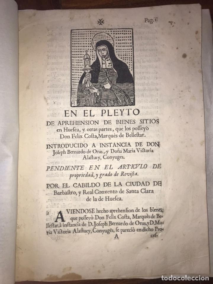 Documentos antiguos: 1729. HUESCA. CABILDO DE BARBASTRO Y REAL CONVENTO DE SANTA CLARA DE HUESCA. MARQUES BELLESTAR. - Foto 2 - 201237827
