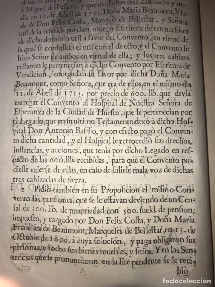 Documentos antiguos: 1729. HUESCA. CABILDO DE BARBASTRO Y REAL CONVENTO DE SANTA CLARA DE HUESCA. MARQUES BELLESTAR. - Foto 3 - 201237827