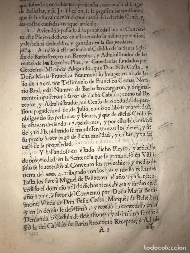 Documentos antiguos: 1729. HUESCA. CABILDO DE BARBASTRO Y REAL CONVENTO DE SANTA CLARA DE HUESCA. MARQUES BELLESTAR. - Foto 4 - 201237827