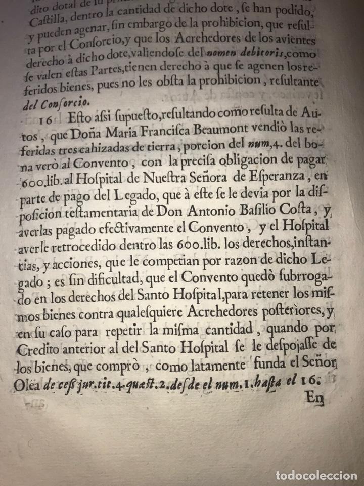 Documentos antiguos: 1729. HUESCA. CABILDO DE BARBASTRO Y REAL CONVENTO DE SANTA CLARA DE HUESCA. MARQUES BELLESTAR. - Foto 5 - 201237827