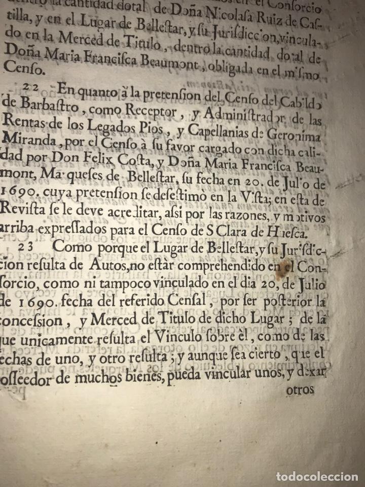 Documentos antiguos: 1729. HUESCA. CABILDO DE BARBASTRO Y REAL CONVENTO DE SANTA CLARA DE HUESCA. MARQUES BELLESTAR. - Foto 6 - 201237827