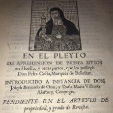 Documentos antiguos: 1729. HUESCA. CABILDO DE BARBASTRO Y REAL CONVENTO DE SANTA CLARA DE HUESCA. MARQUES BELLESTAR.. Lote 201237827