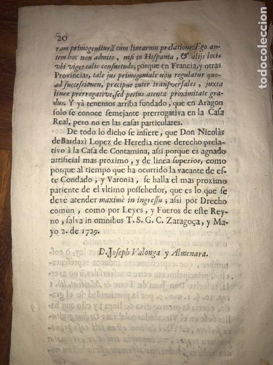 Documentos antiguos: 1729. HUESCA. CASTELFLORITE Y BARONÍA DE ANTILLÓN. BARDAXI LOPEZ DE HEREDIA MARQUÉS DE BARBOLES. - Foto 4 - 201286445