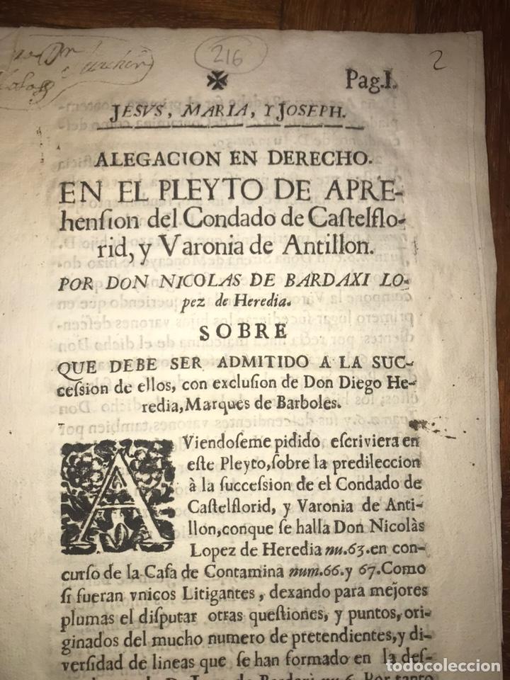 1729. HUESCA. CASTELFLORITE Y BARONÍA DE ANTILLÓN. BARDAXI LOPEZ DE HEREDIA MARQUÉS DE BARBOLES. (Coleccionismo - Documentos - Otros documentos)