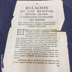 Documentos antiguos: MERITOS TITULOS GRADOS EJERCICIOS LITERARIOS TEOLOGO DE PAULA MARTINEZ UNIVERSIDAD GRANADA 1801. Lote 201323845