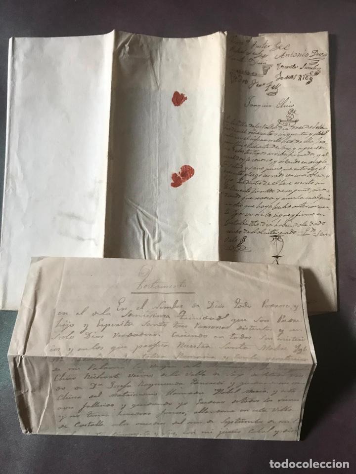 Documentos antiguos: Notariado. Pliego cerrado completo con testamento en el interior. 1857 - Foto 2 - 210085348