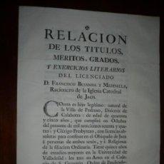 Documentos antiguos: RELACION TITULOS MERITOS ,GRADOS DEL LICENCIADO FCO.BUJANDA MEDINILLA 1774 JAEN . Lote 201810117