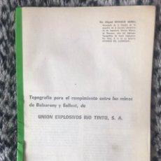 Documentos antiguos: DOCUMENTOS MINAS DE SALLENT Y BALSARENY ZONA DE MANRESA UNION EXPLOSIVOS RIO TINTO CON PLANOS. Lote 201955028