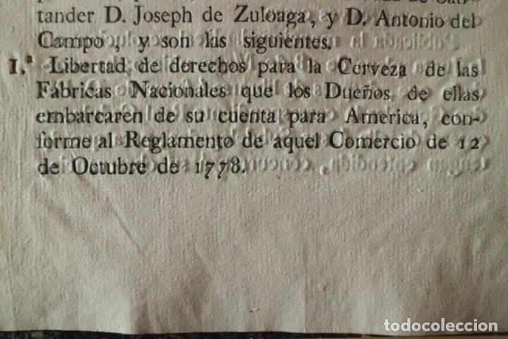 REAL RESOLUCION SOBRE EXENCIONES FABRICA DE CERVEZA, SANTANDER Y TODAS LAS DEMAS FABRICAS CERVEZA (Coleccionismo - Documentos - Otros documentos)