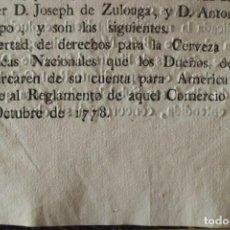 Documentos antiguos: REAL RESOLUCION SOBRE EXENCIONES FABRICA DE CERVEZA, SANTANDER Y TODAS LAS DEMAS FABRICAS CERVEZA. Lote 202372107