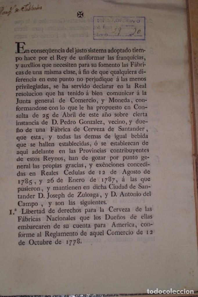Documentos antiguos: REAL RESOLUCION SOBRE EXENCIONES FABRICA DE CERVEZA, SANTANDER Y TODAS LAS DEMAS FABRICAS CERVEZA - Foto 2 - 202372107