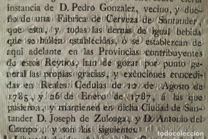 Documentos antiguos: REAL RESOLUCION SOBRE EXENCIONES FABRICA DE CERVEZA, SANTANDER Y TODAS LAS DEMAS FABRICAS CERVEZA - Foto 3 - 202372107