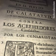 Documentos antiguos: 1741. CALATAYUD. LA COMUNIDAD DE CALATAYUD CONTRA LOS ACREEDORES CENSALISTAS.. Lote 202391180