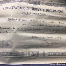 Documentos antiguos: DIPLOMA DE HONOR CONSERVATORIO MÚSICA DECLAMACIÓN LA HABANA CUBA 1906 26 X 36 CM. Lote 202451932