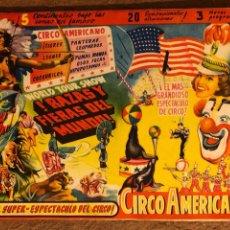 Documentos antiguos: CIRCO AMERICANO. ANTIGUO PROGRAMA DE MANO ILUSTRADO POR RAMÓN. GRÁFICAS VALENCIA.. Lote 202614790