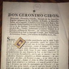 Documentos antiguos: 1798. IBERO, NAVARRA. BANDO/ORDEN SOBRE CAZA DEL VIRREY DE NAVARRA. RARO IMPRESO NAVARRO.. Lote 202701912