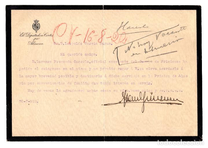 ALMERÍA.- CUERPO DE PRISIONES PETICIÓN REINGRESO. CÁRCEL, PRISIÓN. 1922.DIPUTADO CORTES. (Coleccionismo - Documentos - Otros documentos)